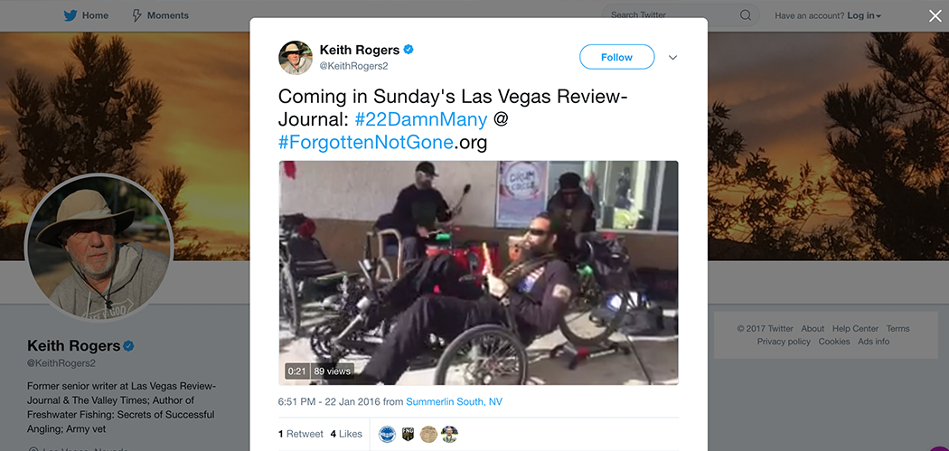Coming in Sundays Las Vegas Review Journal - Forgotten Not Gone In the News