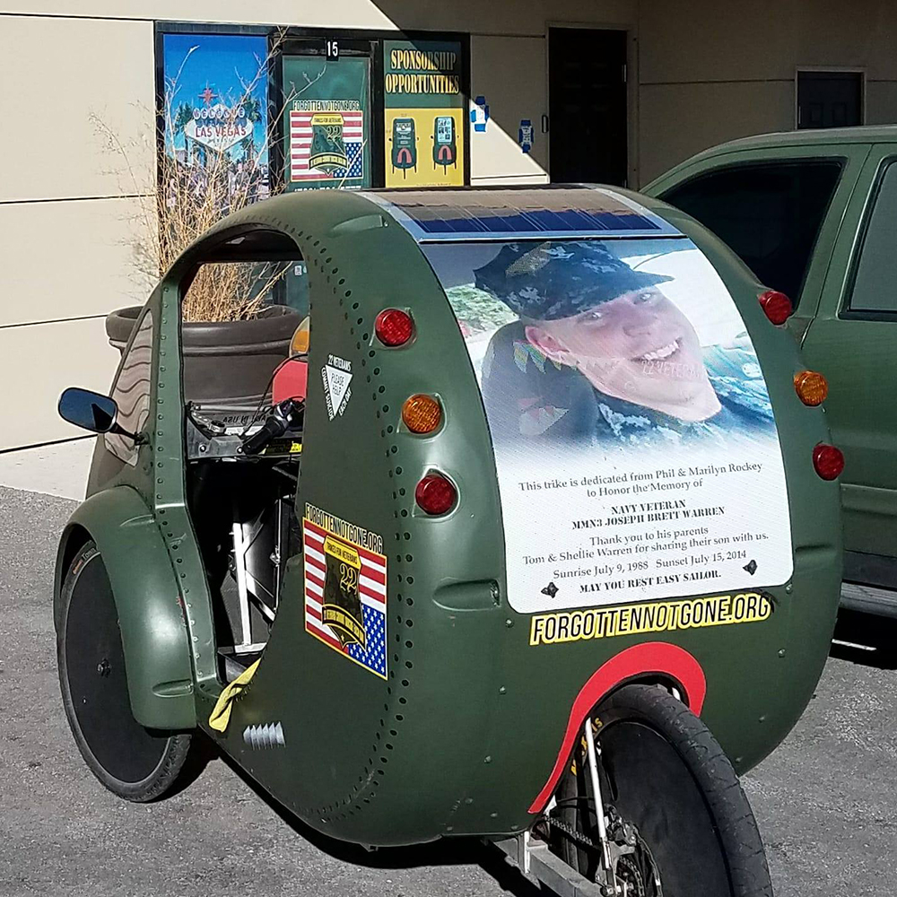 Donate a recumbent trike in memory of a Veteran Today! - Forgotten Not Gone